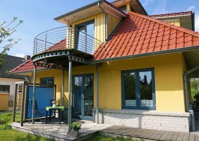 Ferienhaus Det gule Hus Terrasse Westseiteite